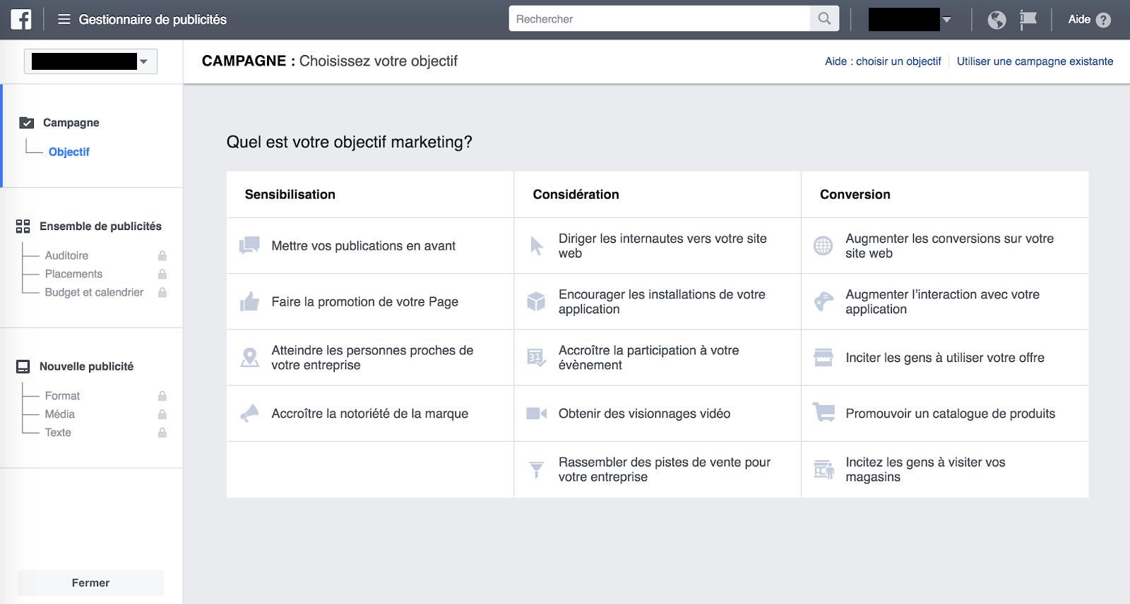 Choisir l'objectif de campagne pour créer une publicité facebook