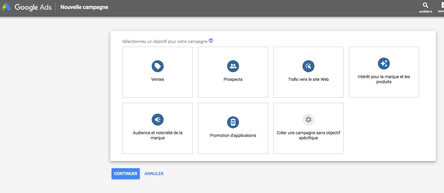 choisir un objectif pour créer une publicité google