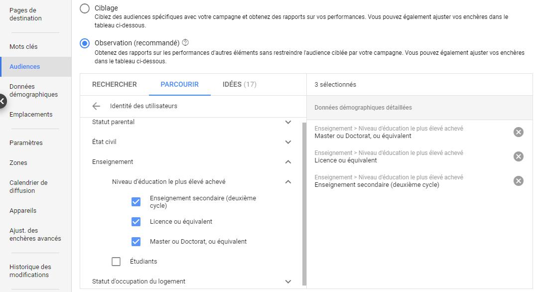 cibler son audience pour créer une publicité google